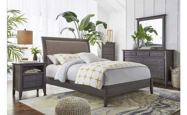 Modus City II Upholstered Panel Bed Complete