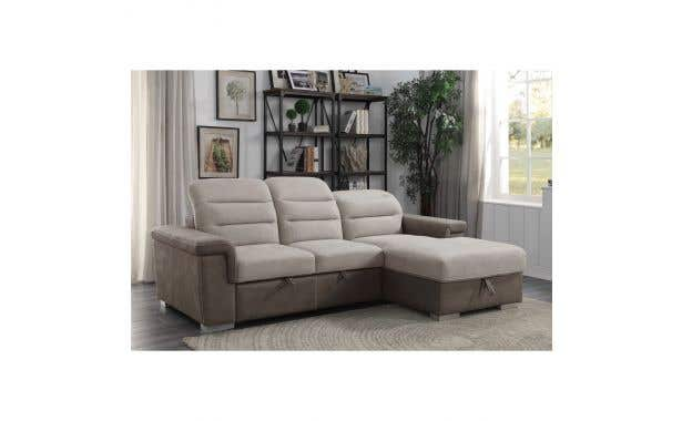 Homelegance Alfio Sectional with pullout bed and hidden storage