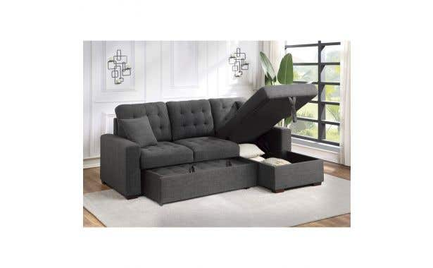 Homelegance McCafferty Sectional with pullout bed and hidden storage